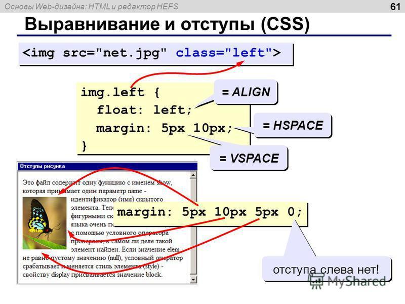 Основы Web-дизайна: HTML и редактор HEFS 61 Выравнивание и отступы (CSS) img.left { float: left; margin: 5px 10px; } img.left { float: left; margin: 5px 10px; } = VSPACE = HSPACE = ALIGN margin: 5px 10px 5px 0; отступа слева нет!