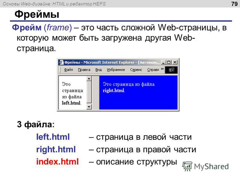 Основы Web-дизайна: HTML и редактор HEFS 79 Фреймы Фрейм (frame) – это часть сложной Web-страницы, в которую может быть загружена другая Web- страница. 3 файла: left.html – страница в левой части right.html – страница в правой части index.html – опис