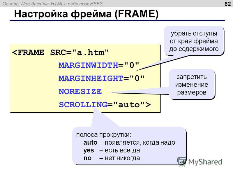 Основы Web-дизайна: HTML и редактор HEFS 82 Настройка фрейма (FRAME) <FRAME SRC=