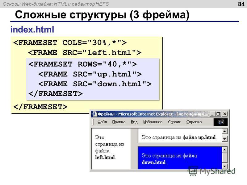 Основы Web-дизайна: HTML и редактор HEFS 84 Сложные структуры (3 фрейма) index.html