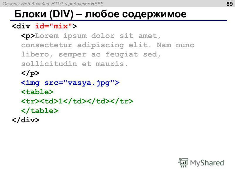 Основы Web-дизайна: HTML и редактор HEFS 89 Блоки (DIV) – любое содержимое Lorem ipsum dolor sit amet, consectetur adipiscing elit. Nam nunc libero, semper ac feugiat sed, sollicitudin et mauris. 1