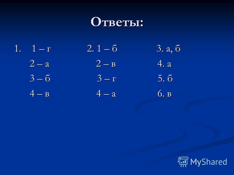 Ответы: 1. 1 – г 2. 1 – б 3. а, б 2 – а 2 – в 4. а 2 – а 2 – в 4. а 3 – б 3 – г 5. б 3 – б 3 – г 5. б 4 – в 4 – а 6. в 4 – в 4 – а 6. в
