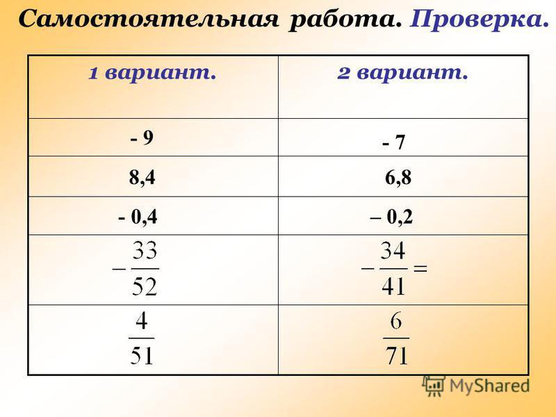 Самостоятельная работа. Проверка. 2 вариант.1 вариант. - 9 - 7 8,46,8 - 0,4– 0,2