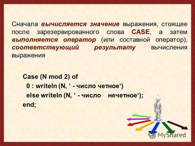 Сначала вычисляется значение выражения, стоящее после зарезервированного слова CASE, а затем выполняется оператор (или составной оператор), соответствующий результату вычисления выражения Case (N mod 2) of 0 : writeln (N, - число четное) else writeln