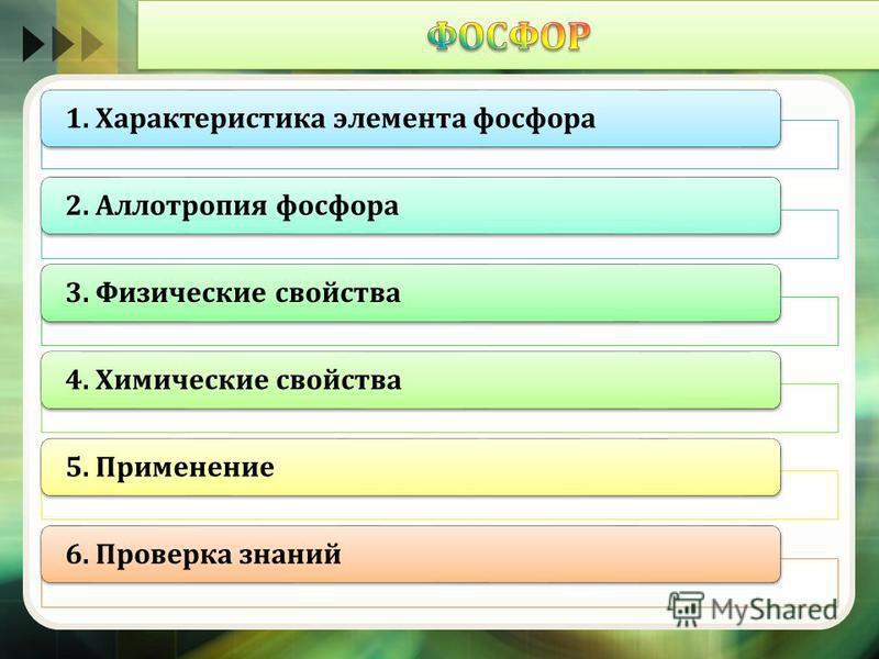 1. Характеристика элемента фосфора 2. Аллотропия фосфора 3. Физические свойства 4. Химические свойства 5. Применение 6. Проверка знаний