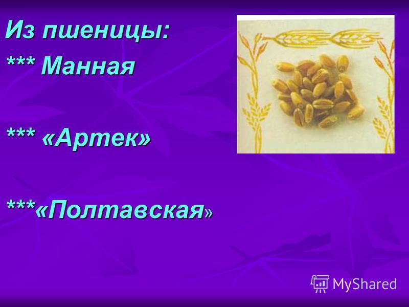 Из пшеницы: *** Манная *** «Артек» ***«Полтавская »