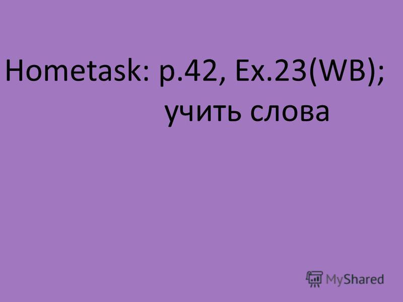 Hometask: p.42, Ex.23(WB); учить слова
