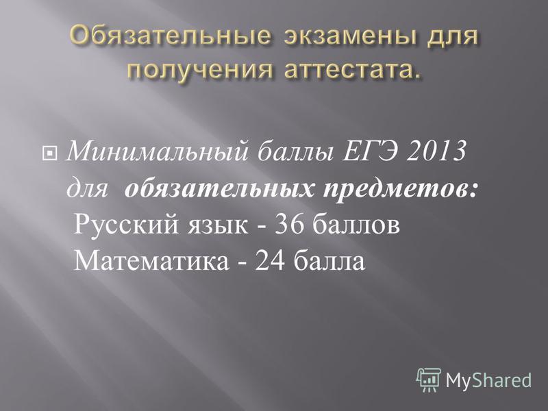 Минимальный баллы ЕГЭ 2013 для обязательных предметов : Русский язык - 36 баллов Математика - 24 балла