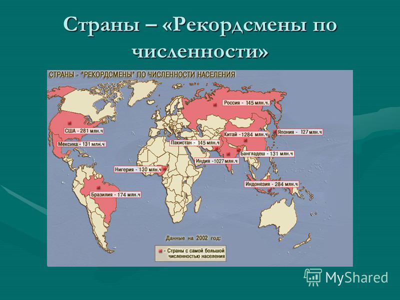 Страны – «Рекордсмены по численности»