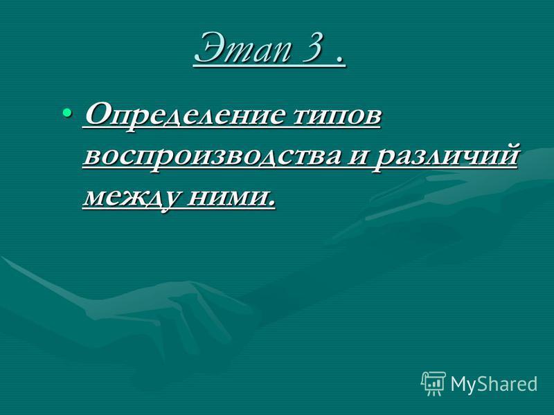 Этап 3. Определение типов воспроизводства и различий между ними.Определение типов воспроизводства и различий между ними.
