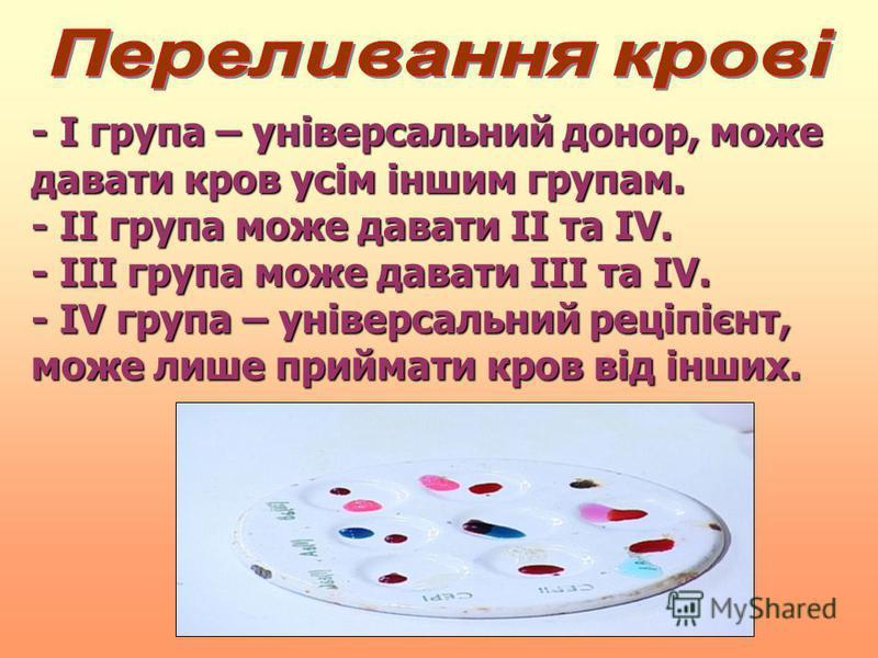 - І група – універсальний донор, може давати кров усім іншим групам. - ІІ група може давати ІІ та ІV.ІV.ІV.ІV. - ІІІ група може давати ІІІ та ІV.ІV.ІV.ІV. - ІV ІV ІV ІV група – універсальний реціпієнт, може лише приймати кров від інших.