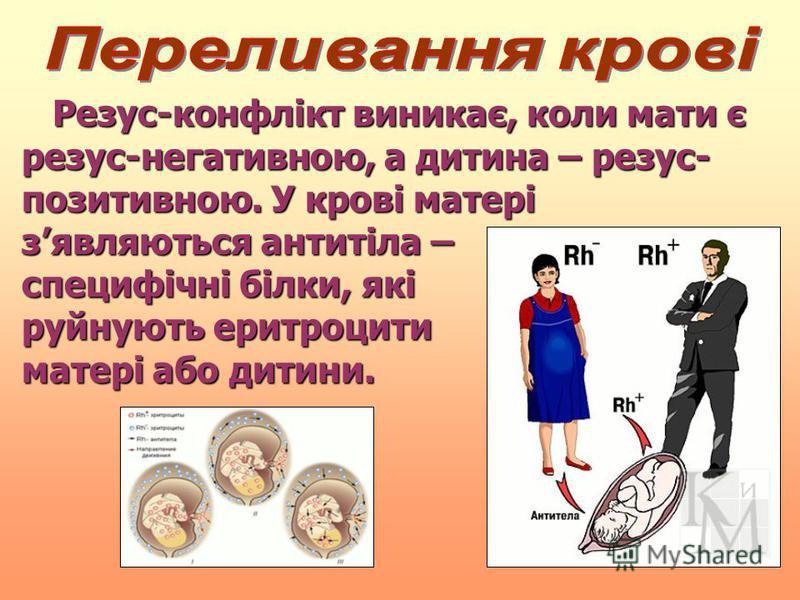 Резус-конфлікт виникає, коли мати є резус-негативною, а дитина – резус- позитивною. У крові матері зявляються антитіла – специфічні білки, які руйнують еритроцити матері або дитини. Резус-конфлікт виникає, коли мати є резус-негативною, а дитина – рез
