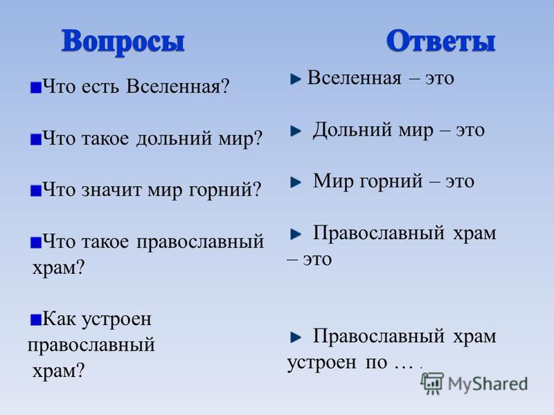 Что есть Вселенная? Что такое дольний мир? Что значит мир горний? Что такое православный храм? Как устроен православный храм? Вселенная – это Дольний мир – это Мир горний – это Православный храм – это Православный храм устроен по ….