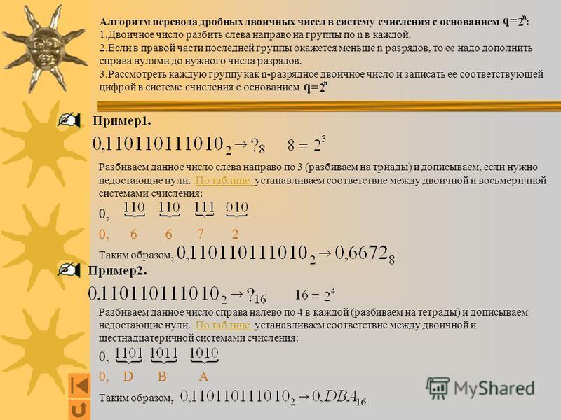 Алгоритм перевода дробных двоичных чисел в систему счисления с основанием : 1. Двоичное число разбить слева направо на группы по n в каждой. 2. Если в правой части последней группы окажется меньше n разрядов, то ее надо дополнить справа нулями до нуж