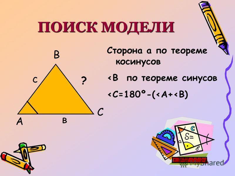 ПОИСК МОДЕЛИ А В С с в ? Сторона а по теореме косинусов <В по теореме синусов <С=180º-(<А+<В)
