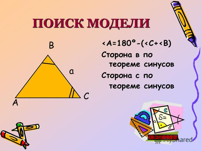 ПОИСК МОДЕЛИ А С В а <А=180º-(<С+<В) Сторона в по теореме синусов Сторона с по теореме синусов
