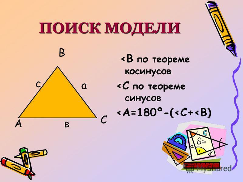 ПОИСК МОДЕЛИ А В С <В по теореме косинусов <С по теореме синусов <А=180º-(<С+<В) с в а