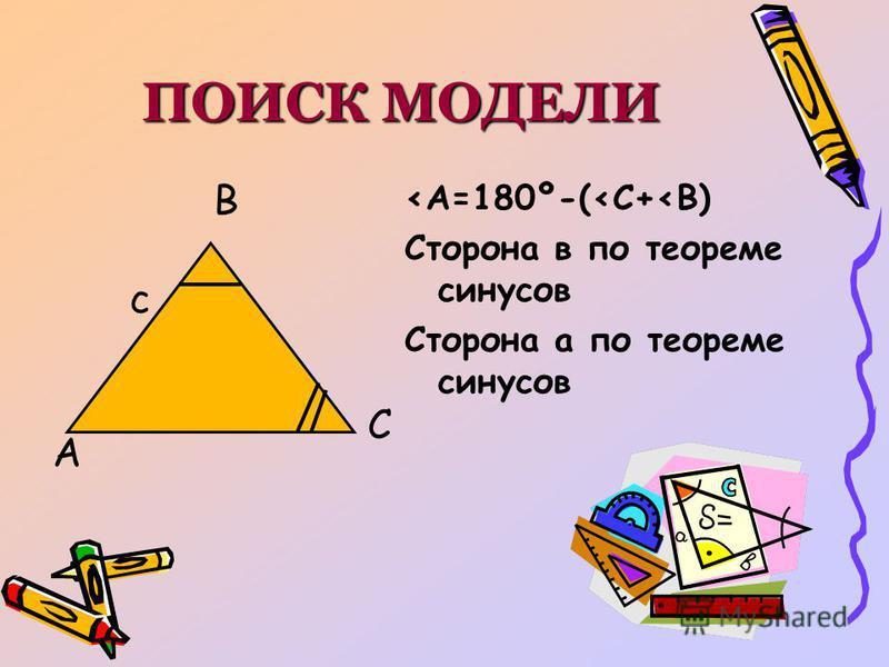 ПОИСК МОДЕЛИ А В С с <А=180º-(<С+<В) Сторона в по теореме синусов Сторона а по теореме синусов