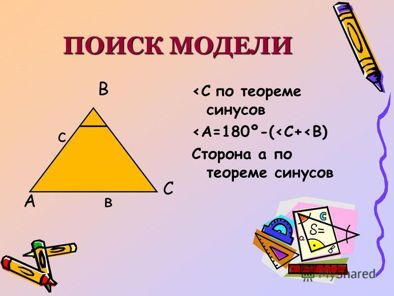 ПОИСК МОДЕЛИ А В С с в <С по теореме синусов <А=180º-(<С+<В) Сторона а по теореме синусов
