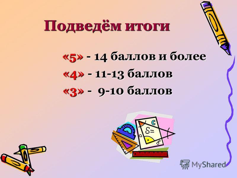 Подведём итоги «5» - 14 баллов и более «5» - 14 баллов и более «4» - 11-13 баллов «3» - 9-10 баллов