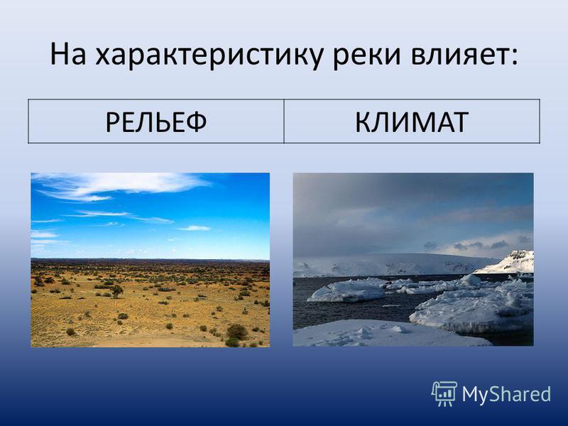 На характеристику реки влияет: РЕЛЬЕФКЛИМАТ