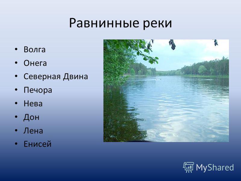 Равнинные реки Волга Онега Северная Двина Печора Нева Дон Лена Енисей