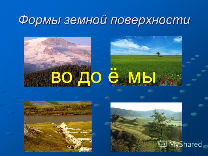 Формы земной поверхности водоёмы