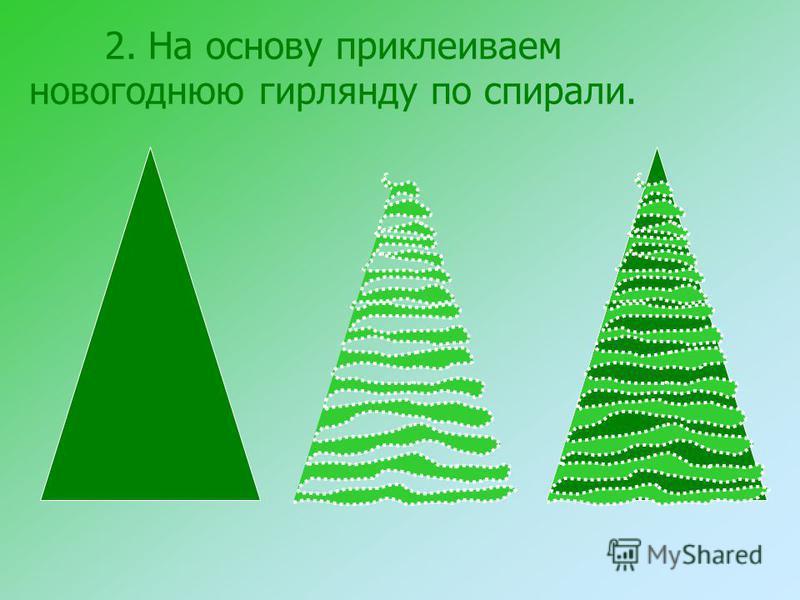 2. На основу приклеиваем новогоднюю гирлянду по спирали.