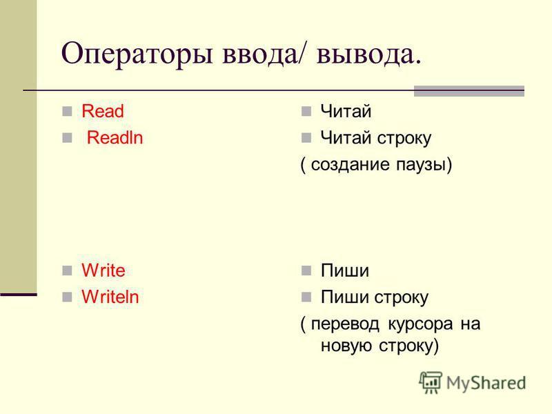 Операторы ввода/ вывода. Read Readln Write Writeln Читай Читай строку ( создание паузы) Пиши Пиши строку ( перевод курсора на новую строку)