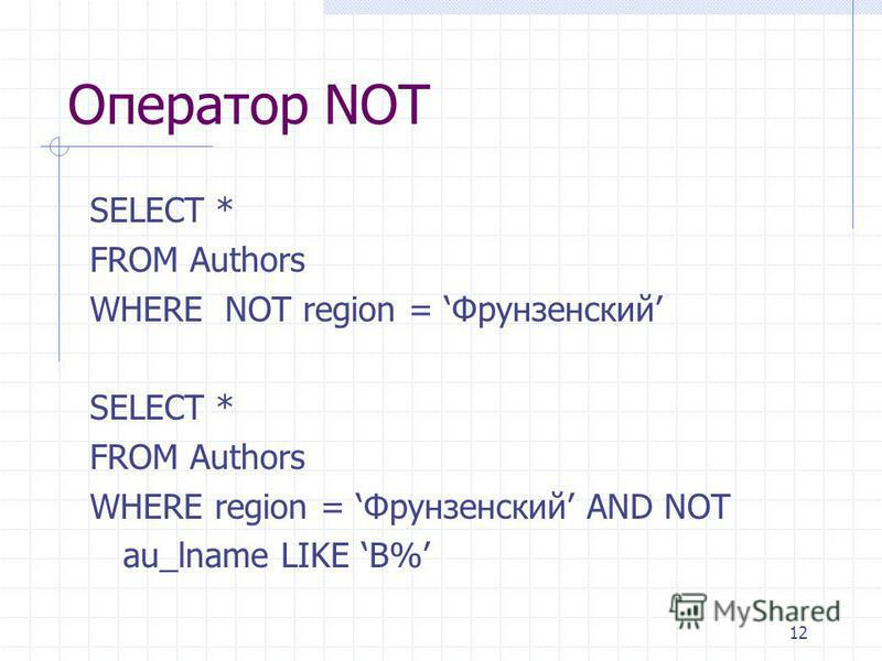 12 Оператор NOT SELECT * FROM Authors WHERE NOT region = Фрунзенский SELECT * FROM Authors WHERE region = Фрунзенский AND NOT au_lname LIKE B%