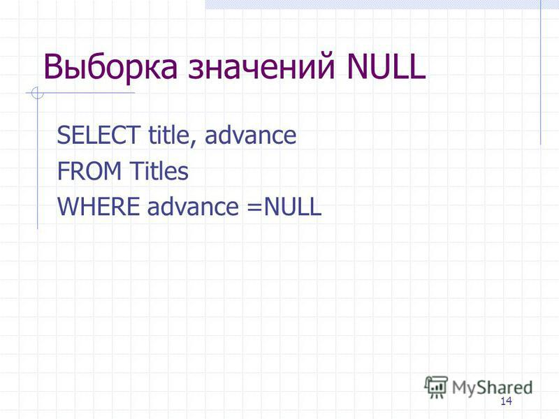 14 Выборка значений NULL SELECT title, advance FROM Titles WHERE advance =NULL