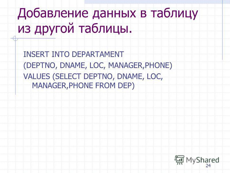 24 Добавление данных в таблицу из другой таблицы. INSERT INTO DEPARTAMENT (DEPTNO, DNAME, LOC, MANAGER,PHONE) VALUES (SELECT DEPTNO, DNAME, LOC, MANAGER,PHONE FROM DEP)