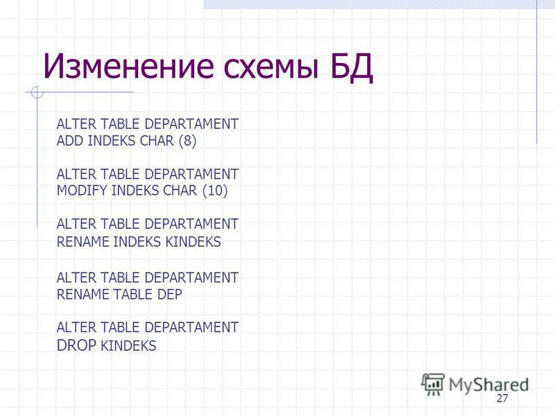 27 Изменение схемы БД ALTER TABLE DEPARTAMENT ADD INDEKS CHAR (8) ALTER TABLE DEPARTAMENT MODIFY INDEKS CHAR (10) ALTER TABLE DEPARTAMENT RENAME INDEKS KINDEKS ALTER TABLE DEPARTAMENT RENAME TABLE DEP ALTER TABLE DEPARTAMENT DROP KINDEKS