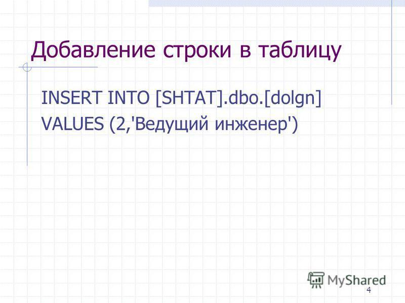 4 Добавление строки в таблицу INSERT INTO [SHTAT].dbo.[dolgn] VALUES (2,'Ведущий инженер')
