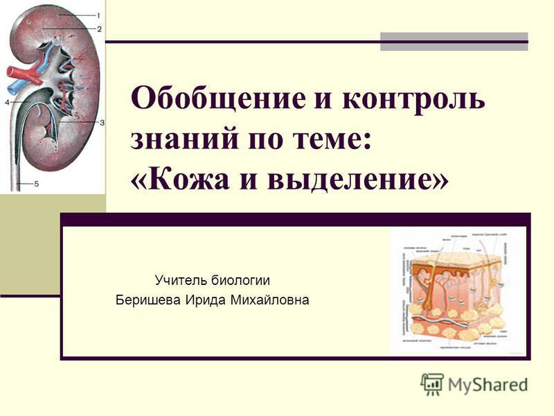 Обобщение и контроль знаний по теме: «Кожа и выделение» Учитель биологии Беришева Ирида Михайловна