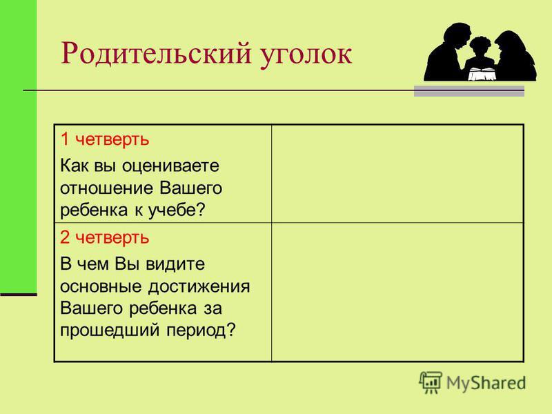 Родительский уголок 1 четверть Как вы оцениваете отношение Вашего ребенка к учебе? 2 четверть В чем Вы видите основные достижения Вашего ребенка за прошедший период?
