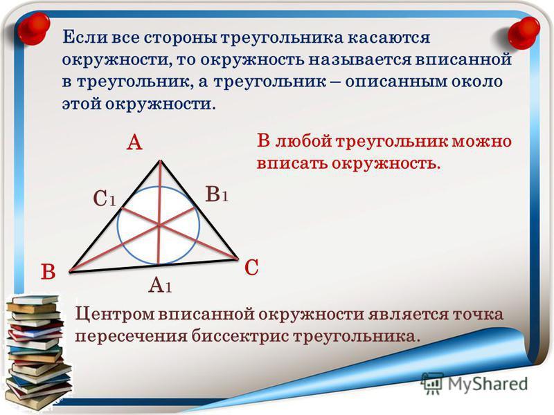 Если все стороны треугольника касаются окружности, то окружность называется вписанной в треугольник, а треугольник – описанным около этой окружности. А В С В любой треугольник можно вписать окружность. Центром вписанной окружности является точка пере