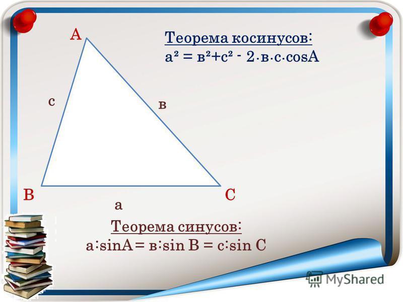 А ВС в а с Теорема косинусов: а² = в²+c² - 2 в с cosА Теорема синусов: а:sinA = в:sin В = с:sin С