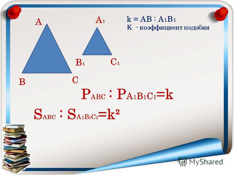С В А А1А1 В1В1 С1С1 k = АВ : А 1 В 1 K - коэффициент подобия S АВС : S А 1 В 1 С 1 =k² Р АВС : Р А 1 В 1 С 1 =k
