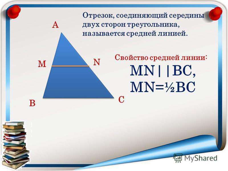 А В С М N Отрезок, соединяющий середины двух сторон треугольника, называется средней линией. Свойство средней линии: МN||ВС, МN=½ВС