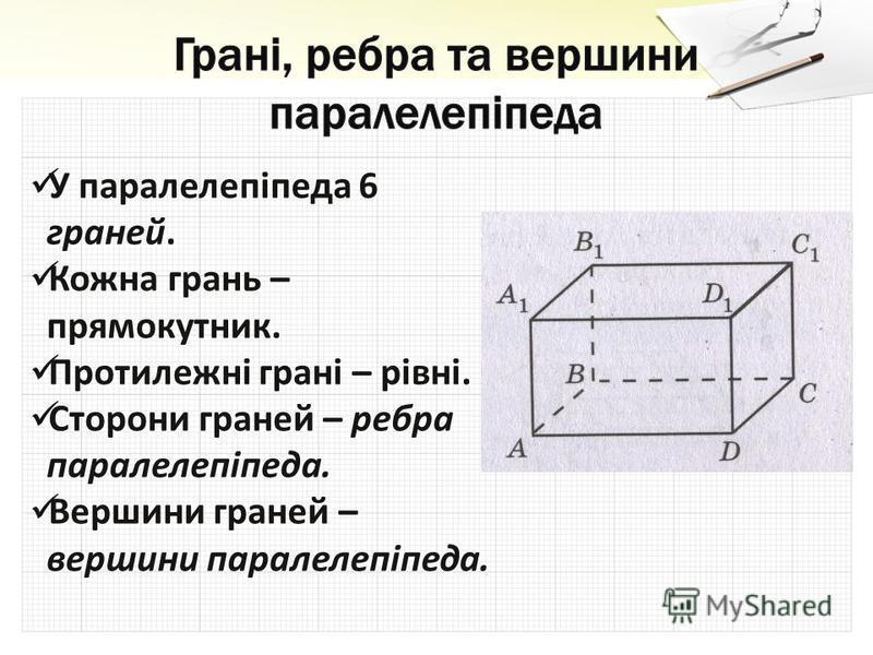 У паралелепіпеда 6 граней. У паралелепіпеда 6 граней. Кожна грань – прямокутник. Кожна грань – прямокутник. Протилежні грані – рівні. Протилежні грані – рівні. Сторони граней – ребра паралелепіпеда. Сторони граней – ребра паралелепіпеда. Вершини гран