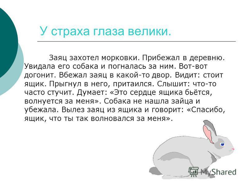 У страха глаза велики. Заяц захотел морковки. Прибежал в деревню. Увидала его собака и погналась за ним. Вот-вот догонит. Вбежал заяц в какой-то двор. Видит: стоит ящик. Прыгнул в него, притаился. Слышит: что-то часто стучит. Думает: «Это сердце ящик