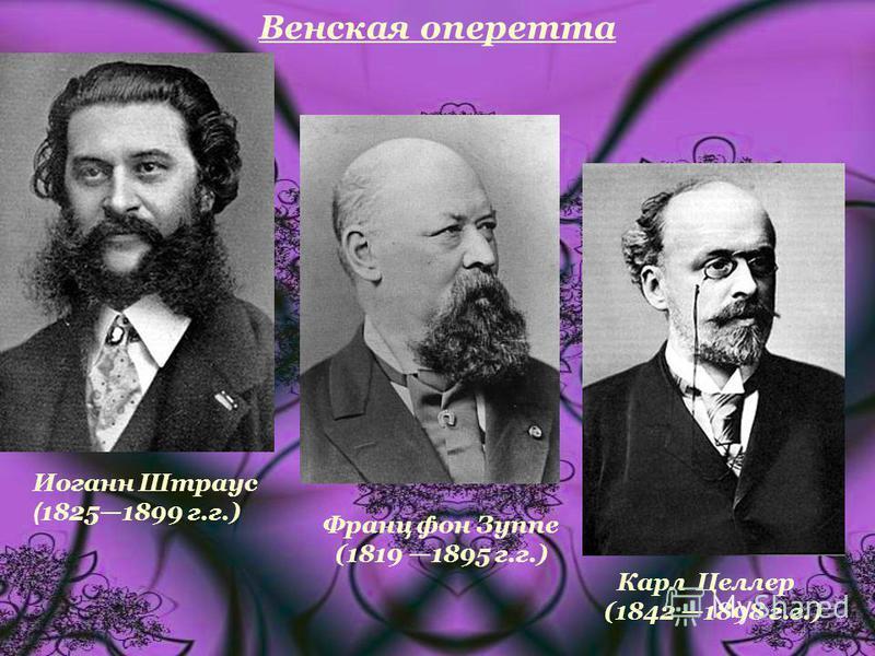 Венская оперетта Иоганн Штраус ( 18251899 г.г.) Франц фон Зуппе (1819 1895 г.г.) Карл Целлер (1842 1898 г.г.)