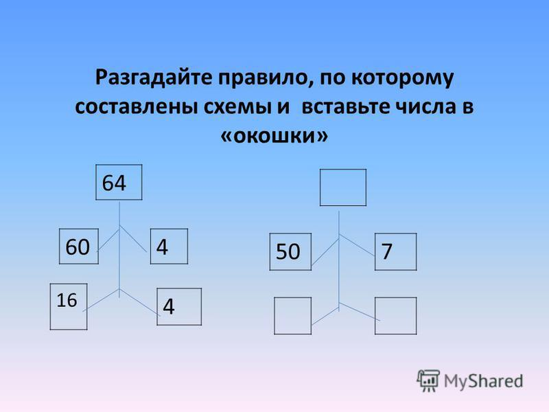 Разгадайте правило, по которому составлены схемы и вставьте числа в «окошки» 64 460 16 4 507