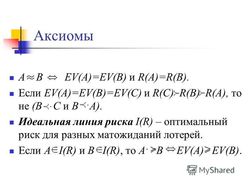 Аксиомы A B EV(A)=EV(B) и R(A)=R(B). Если EV(A)=EV(B)=EV(C) и R(C) R(B) R(A), то не (B C и B A). Идеальная линия риска I(R) – оптимальный риск для разных мат ожиданий лотерей. Если A I(R) и B I(R), то A B EV(A) EV(B).
