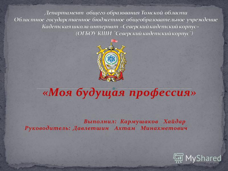 «Моя будущая профессия» Выполнил: Кармушаков Хайдар Руководитель: Давлетшин Ахтам Минахметович
