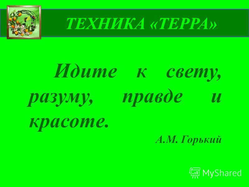 ТЕХНИКА «ТЕРРА» Идите к свету, разуму, правде и красоте. А.М. Горький