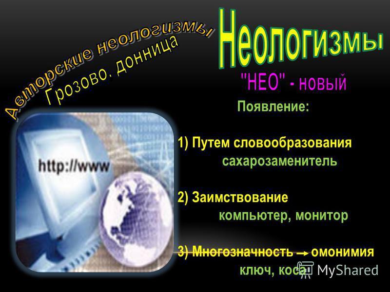 Появление: 1) Путем словообразования сахарозаменитель 2) Заимствование компьютер, монитор 3) Многозначность омонимия ключ, коса