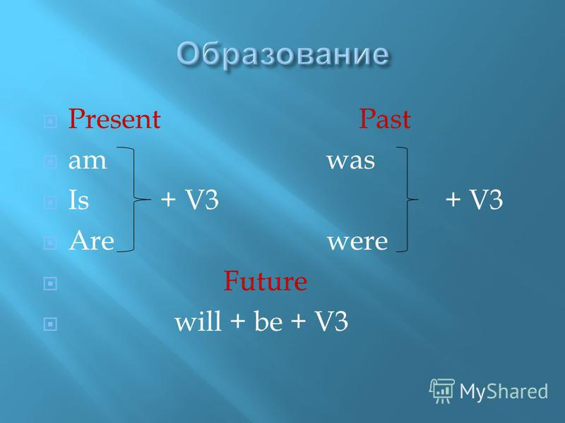 Present Past am was Is + V3 + V3 Are were Future will + be + V3