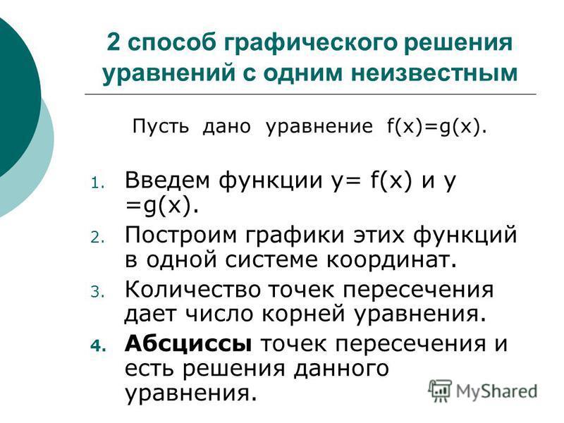 2 способ графического решения уравнений с одним неизвестным Пусть дано уравнение f(x)=g(x). 1. Введем функции у= f(x) и у =g(x). 2. Построим графики этих функций в одной системе координат. 3. Количество точек пересечения дает число корней уравнения.